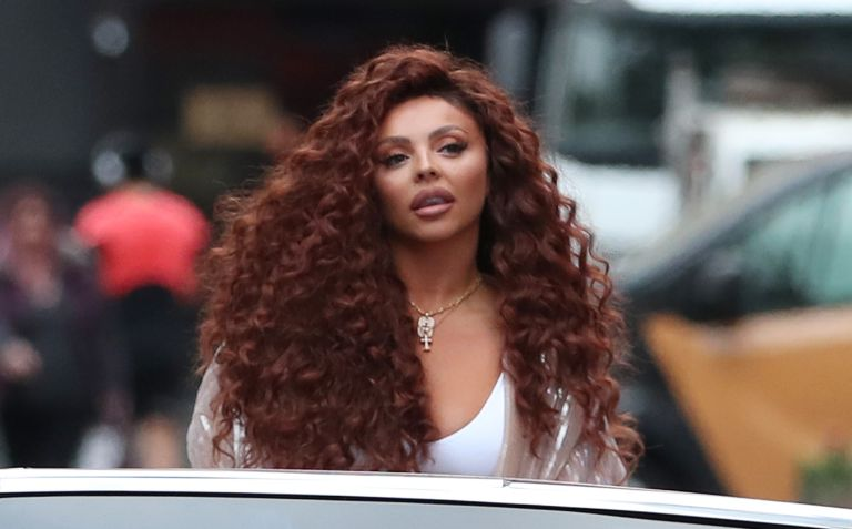 Jesy Nelson arrives at Global Radio Studios in Leicester Square to support 'Global's Make Some Noise Day' and promote her new solo single 'BOYZ' on October 08, 2021 in London, England.