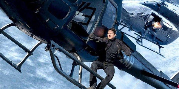 Tom Cruise hanging from a helicopter in Mission: Impossible - Fallout