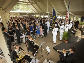 Members of the U.S. Navy Ceremonial Guard from Washington, D.C., present the Colors during a memorial service celebrating the life of Neil Armstrong, Friday, Aug. 31, 2012, in Cincinnati.