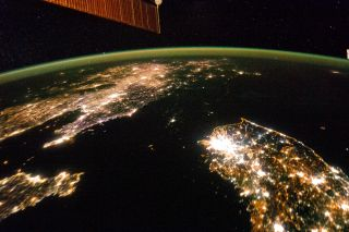 International Space Station image of lights at night in North Korea, South Korea and China.