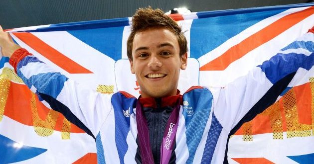 Tom Daley celebrates Bronze at the London 2012 Olympics.