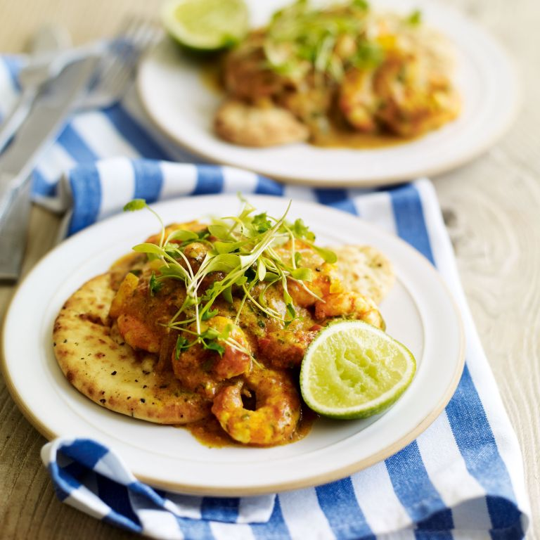 Prawn and Coconut Balti Curry with Naan Bread recipe-recipe ideas-new recipes-woman and home