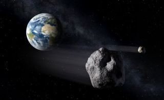 An artist's concept of a near-Earth asteroid flying close to Earth.