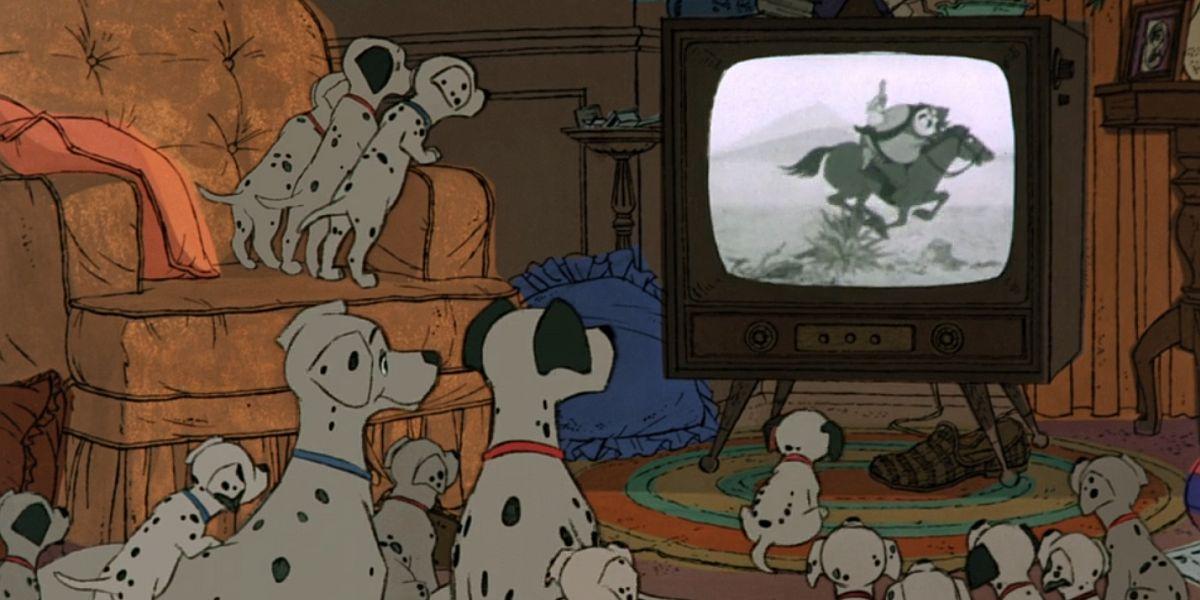 dalmatians watching in TV in 101 Dalmatians