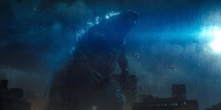 Godzilla roaring at night in King of the Monsters