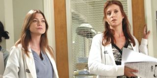 Ellen Pompeo as Meredith Grey and Kate Walsh as Addison Montgomery in Grey's Anatomy.