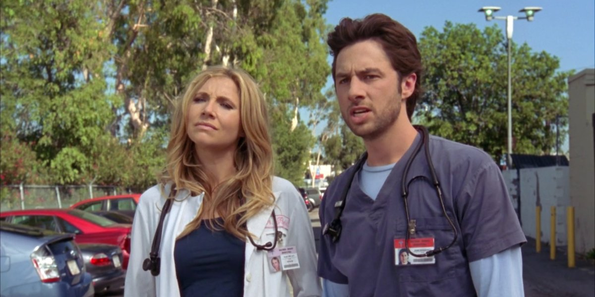 Sarah Chalke and Zach Braff on Scrubs