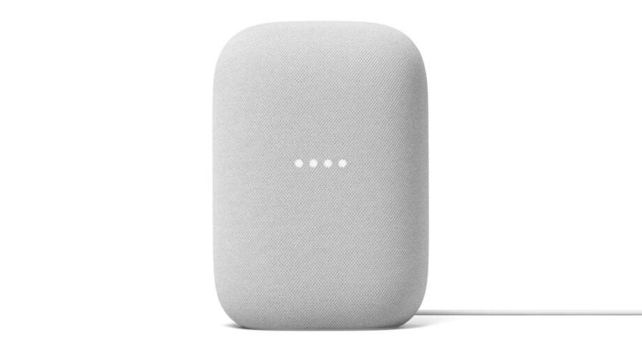 the google nest audio smart speaker in light gray