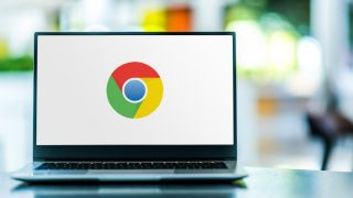 The Google Chrome logo displayed on a laptop screen.