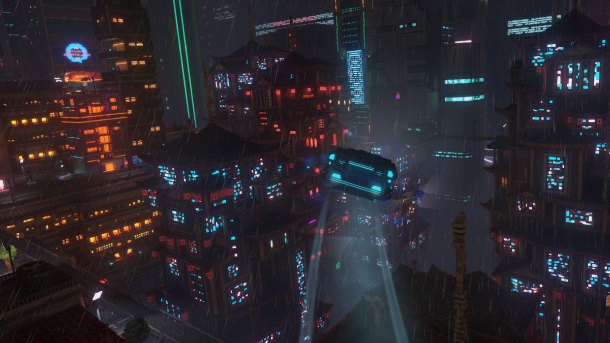 luces de neon al jugar Cloudpunk jugar