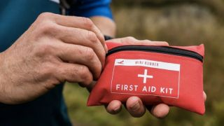 Harrier first aid kit being held