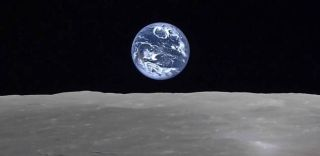 Earthrise from moon, JAXA