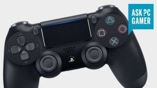PlayStation 4 dualshock 4 controller with the Ask PC gamer logo in the top right, on a grey background