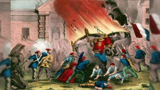 French revolutionaries wearing red phrygian caps burn the royal carriages at the Chateau d'Eu during the French Revolution of 1848.