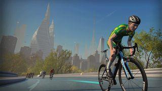 Screenshot of a rider on Zwift attacking up a climb