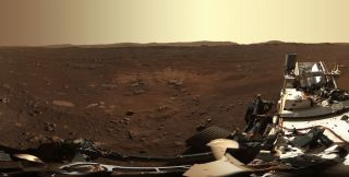 A portion of the panorama captured by the Mastcam-Z camera system aboard NASA's Perseverance Mars rover. The full panorama consists of 142 images taken on Feb. 21, 2021.