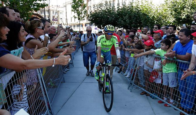 Alberto Contador (Tinkoff) rides to the start of stage 12 at the Vuelta a Espana