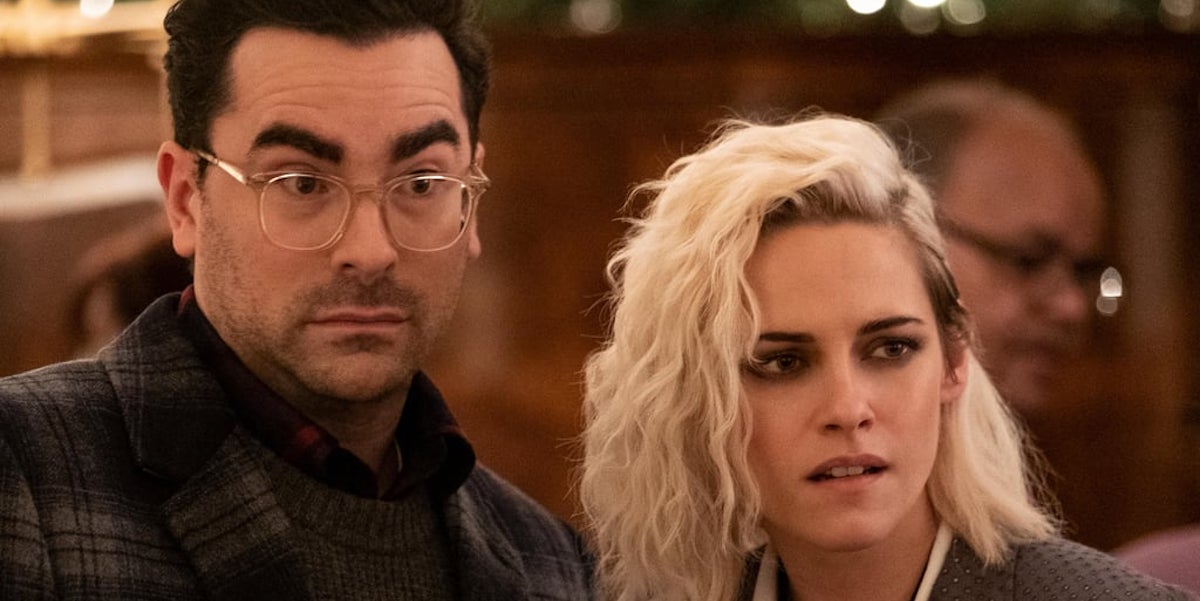 Dan Levy and Kristen Stewart in Happiest Season