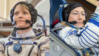 NASA astronauts Anne McClain and Christina Koch will form the first two-woman spacewalk team for a mission outside the space station March 29, 2019.