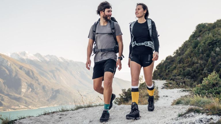 Two hikers wearing CEP compression socks