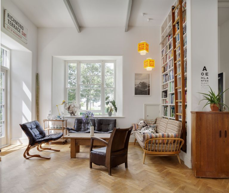 Open plan living room in a renovated school house