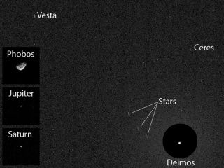 Ceres and Vesta as seen from Mars