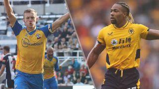 James Ward-Prowse of Southampton and Adama Traore of Wolverhampton Wanderers