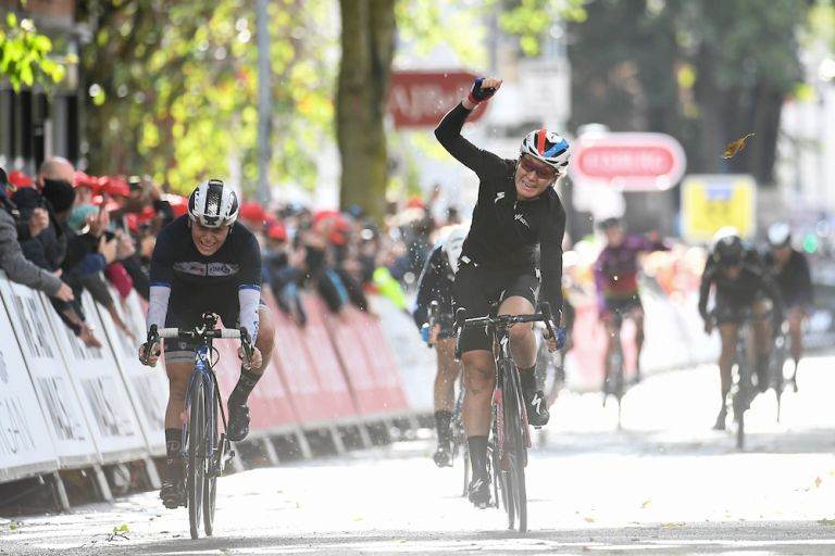 Amy Pieters (SDWorx) wins stage two of the AJ Bell Women's Tour in Walsall, W Mids