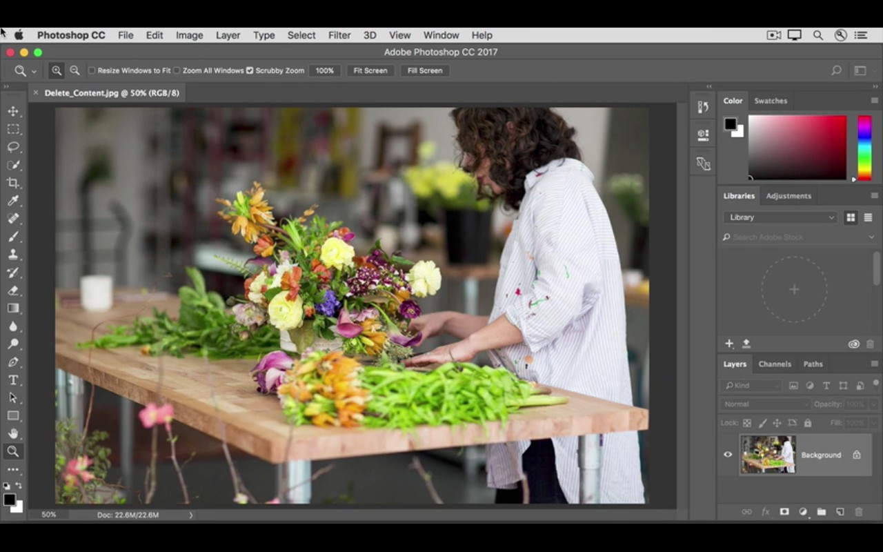 Photoshop tutorials: Woman preparing plants on table