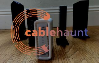 Cable Haunt logo superimposed on a collection of cable modems.