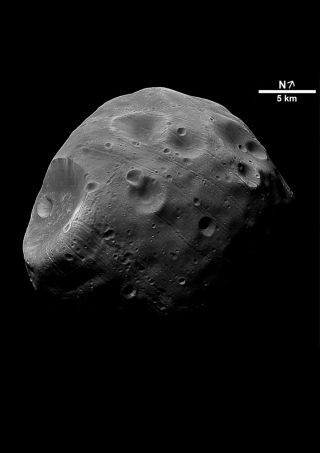 Martian Moon Phobos in Black and White
