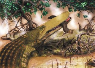 illustration shows an ancient crocodile species that lived during the Cretaceous