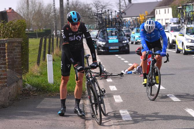 Christian Knees (Sky) was mixed up in a crash early in E3 Harelbeke