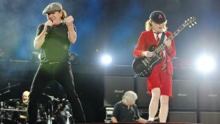 Brian Johnson and Angus Young of AC/DC perform live on stage during the 'Rock or Bust' World Tour, at Wembley Stadium on July 4, 2015 in London, United Kingdom