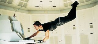 Ethan Hunt (Tom Cruise) in Mission Impossible dangles over a floor teeming with sensors as he tries to hack the C.I.A. mainframe in Langley, Virginia in order to catch a mole threatening to expose the true identities of its agents across the globe.