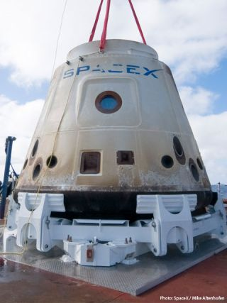 SpaceX's Dragon space capsule is shown after its first successful orbital flight, re-entry and recovery in December 2010.