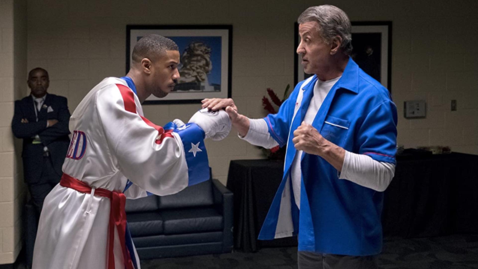 Michael B. Jordan y Sylvester Stallone en Creed 2