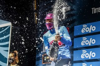 Champagne supernova: Michael Woods' victory on stage 3 of the 2020 Tirreno-Adriatico also netted him the EF Pro Cycling rider the blue leader's jersey