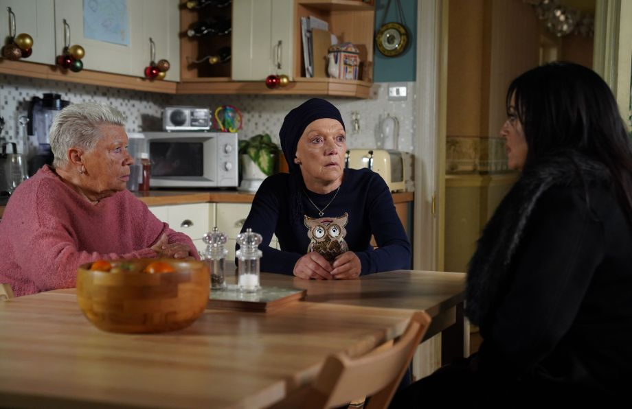 EastEnders Kat Moon gives the news to Mo and Jean