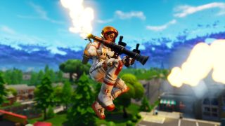Rocket-ing with both a jetpack and RPG in Fortnite's Fly Explosives LTM.
