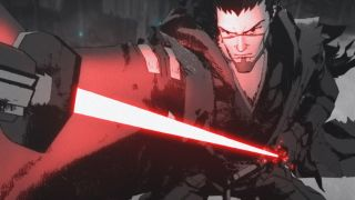 """Ronin drawing red lightsaber from Star Wars: Visions short """"The Duel"""""""