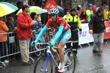 Vuelta leader Vincenzo Nibali (Astana) at the finish of the first Pyrenean stage