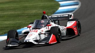 Marco Andretti starts on the pole for the 104th running of the Indy 500 at Indianapolis Motor Speedway.