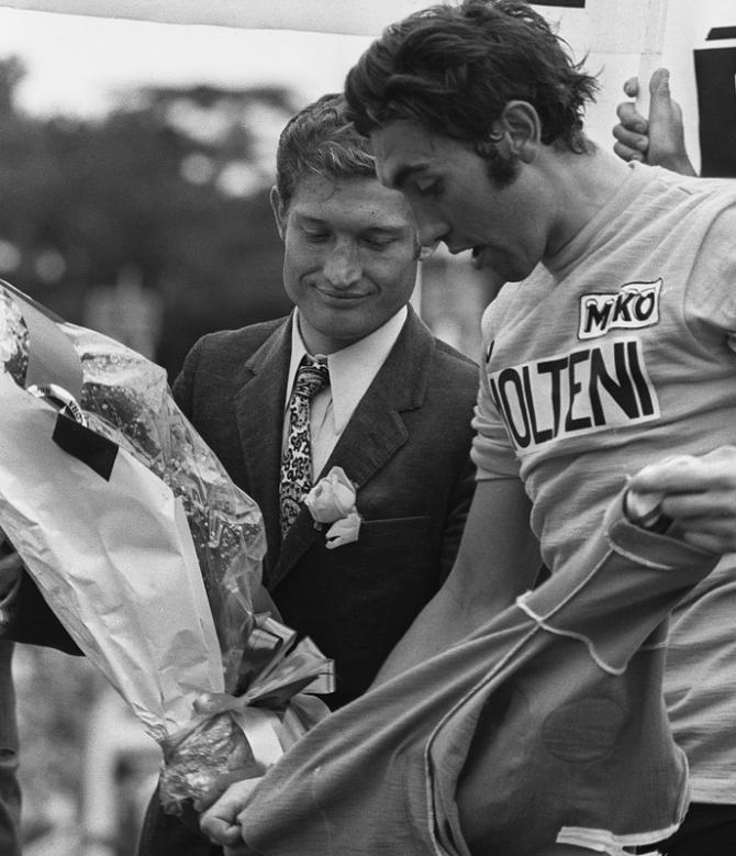 Eddy Merckx with Cyrille Guimard on the podium at the end of the 1972 Tour