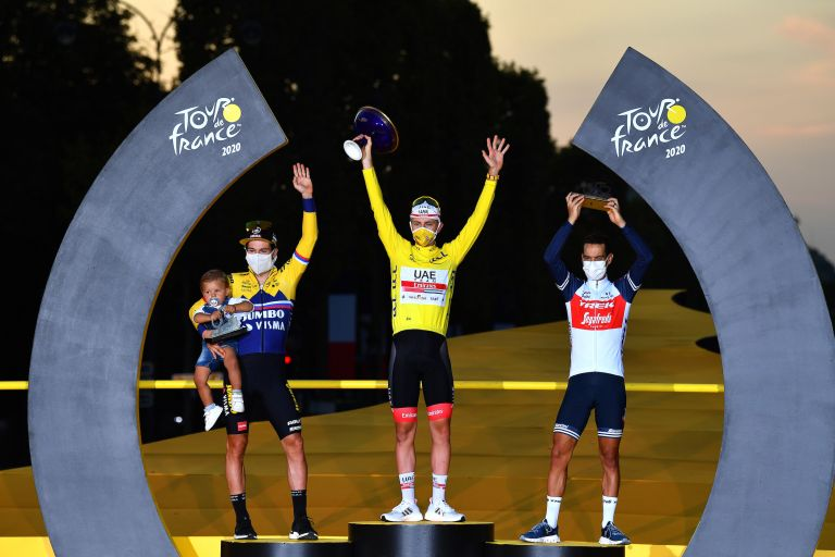 Tadej Pogačar at the top of the Tour de France 2020 podium