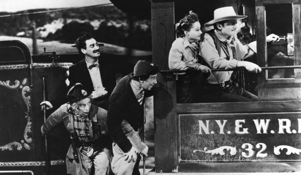 The Marx Brothers on board a train in Go West