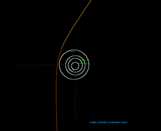 A depiction of the path of Comet C/2019 Q4, which may be the second interstellar object detected to date.