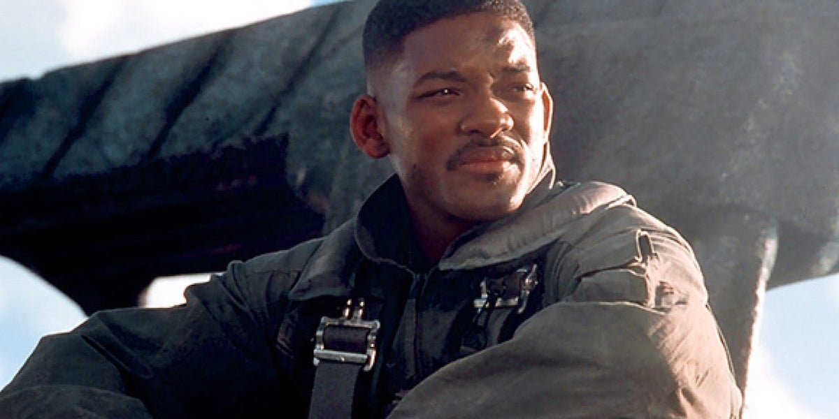 Captain Steven Hiller (Will Smith) sits amid the wreckage in 'Independence Day'