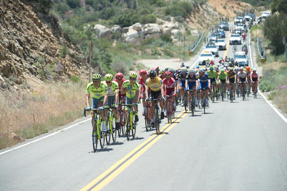 Peloton on stage two of the 2016 Tour of California
