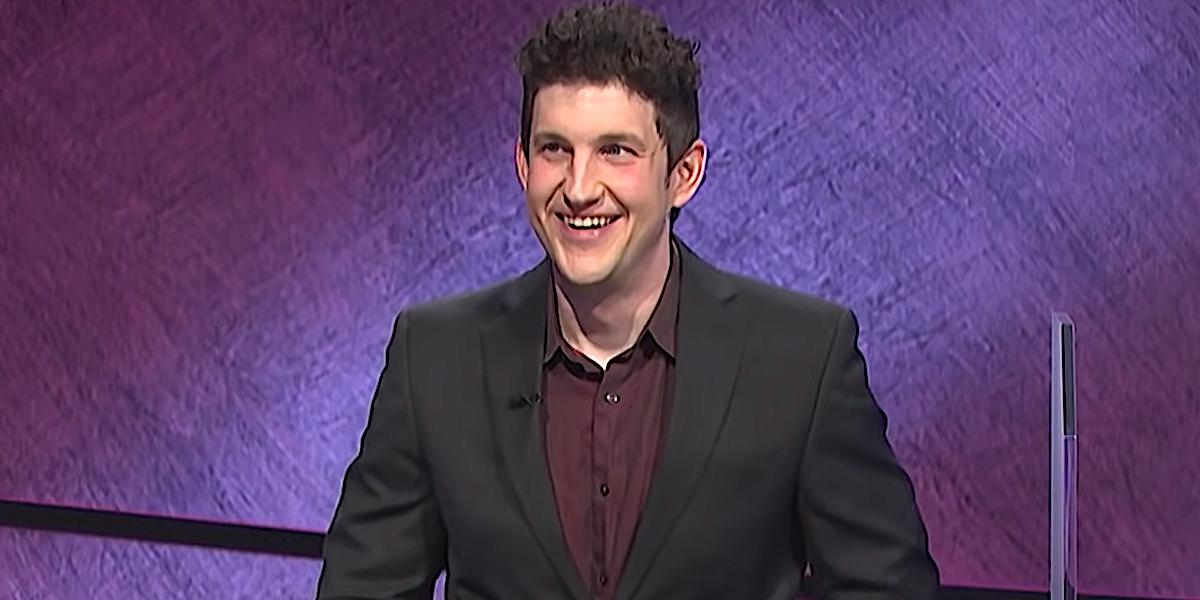 Matt Amodio smiles on Jeopardy!